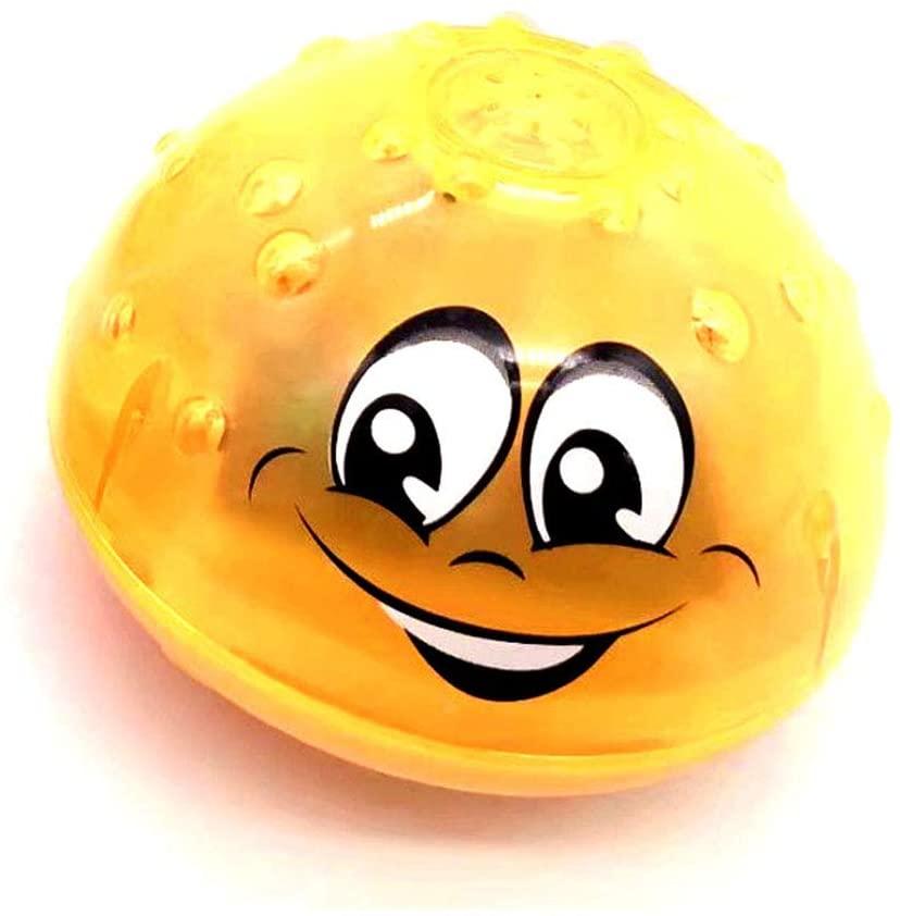 FQMAO Bath Toy Ball Light, Electric Induction Spray Ball Light, Bathroom Infant Kids Water Bath Play Toy,Yellow