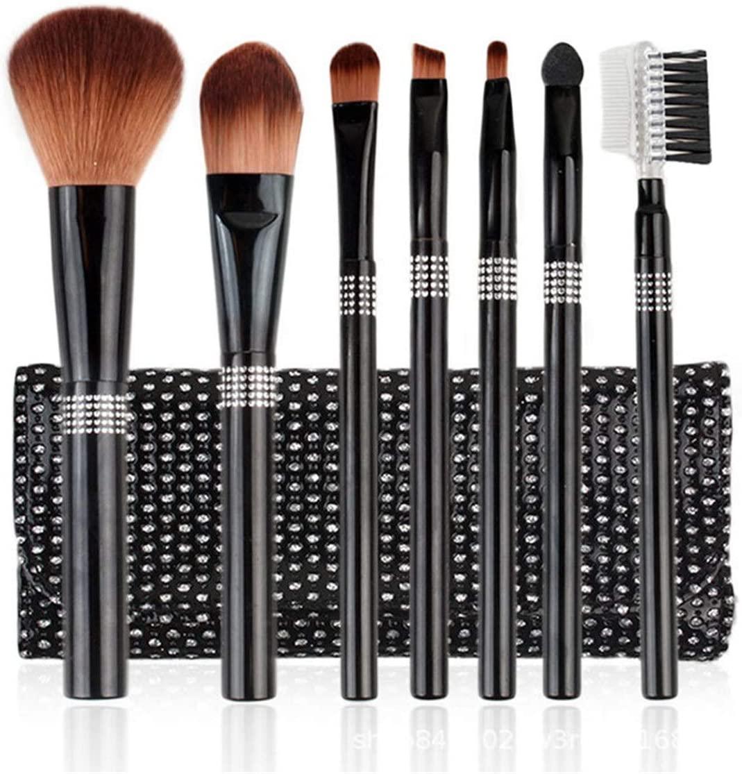 zZZ ZXZ 7 Pcs Makeup Brush Set Animal Hair Beginner Makeup Tools Soft, Strong Affinity, Strong Grip, Soft Color, Suitable for Facial Contours Beautiful (Color : Black)