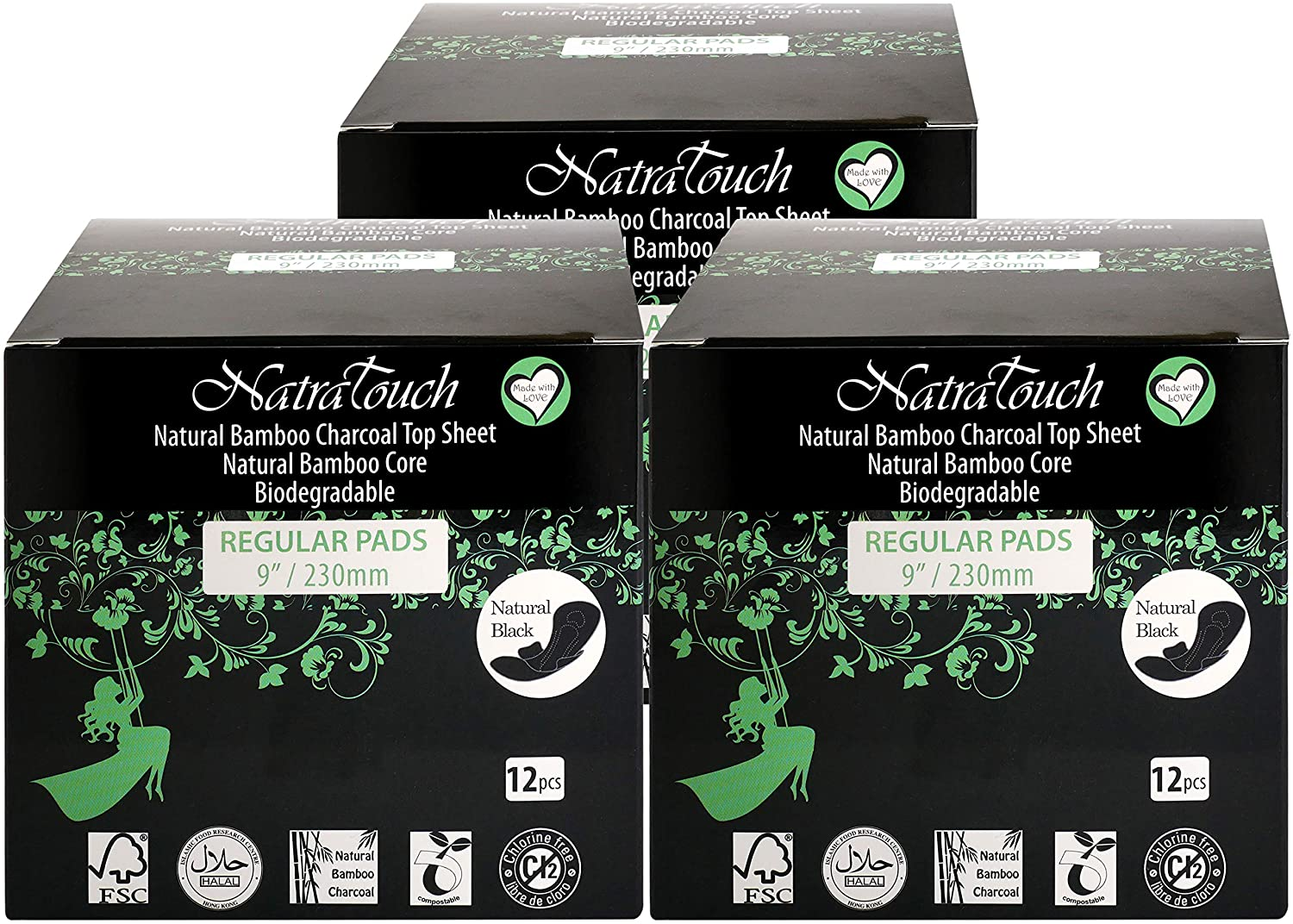 NATRATOUCH ~ COMPOSTABLE ~ Natural Bamboo Charcoal Sanitary Pads (Regular PAD - 3 Pack Total 36 Pads)