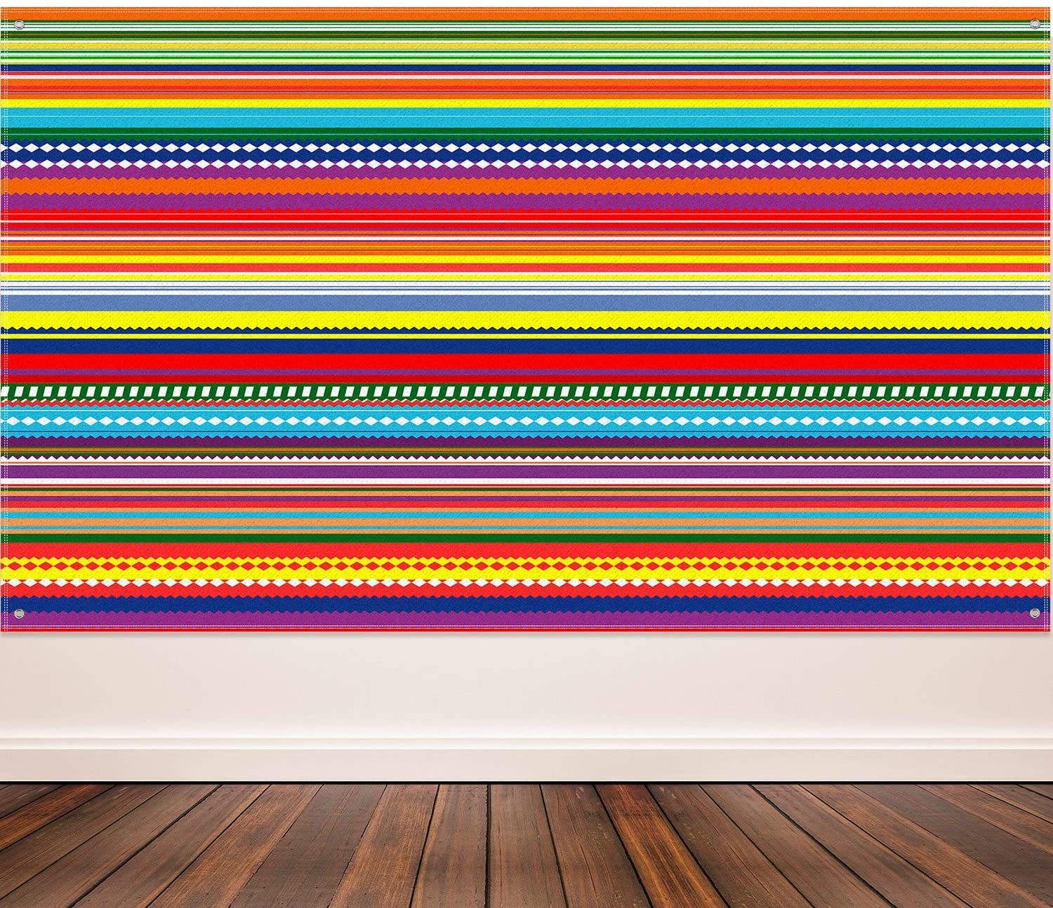 Color Fiesta Theme Party Decoration Supplies Extra Large Stripes Backdrop Fabric Mexican Festival Photography Background for Fiesta Theme Decoration, Cactus Photo Backdrop Banner, 72.8 x 43.3 Inch