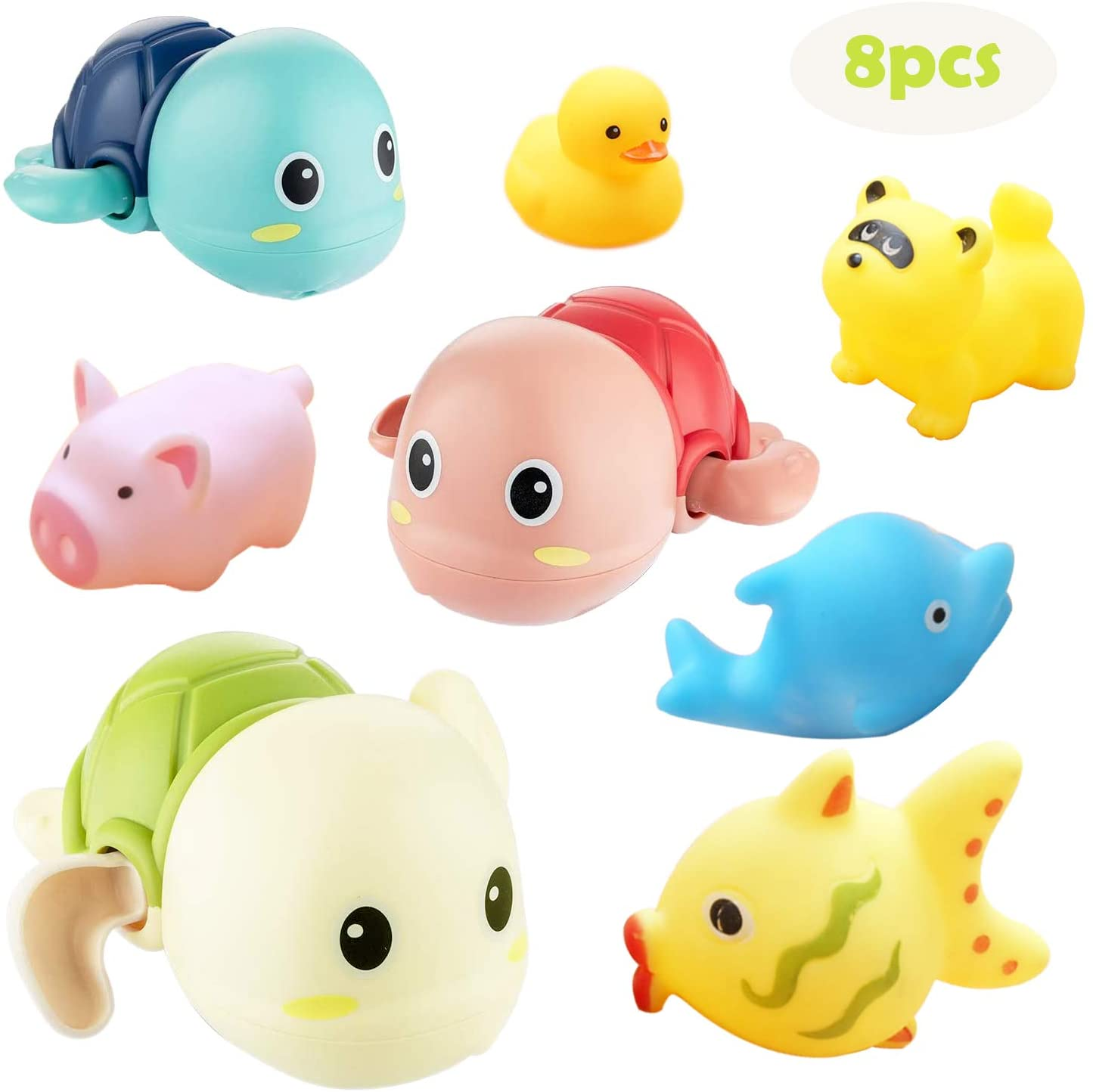 AFTWO Kids Baby Bath Toys,Wind up Bathtub Pool Toys Multi-Colors Swimming Turtle and Squirts Fun Bath Toys Cute Water Playset for Kids Boys Girls