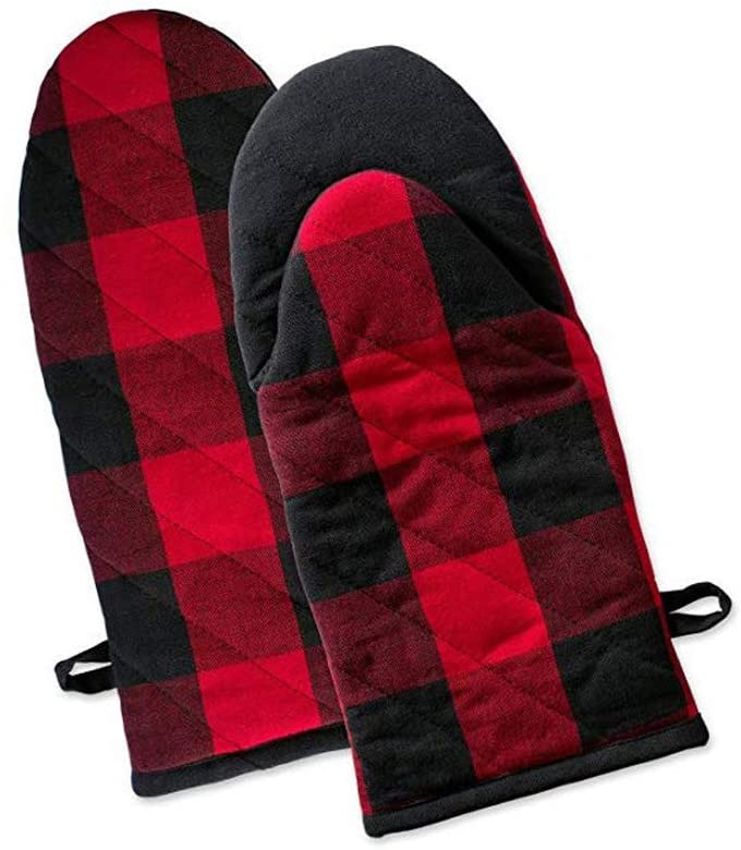 UANDA Thickened Plaid Cotton Oven Mitts, Heat Resistant Microwave Oven for Everyday Kitchen Cooking and Baking, Insulation Gloves Perfect for Gifts (12.9x5.9 - Set of 2) (Red Black Plaid)