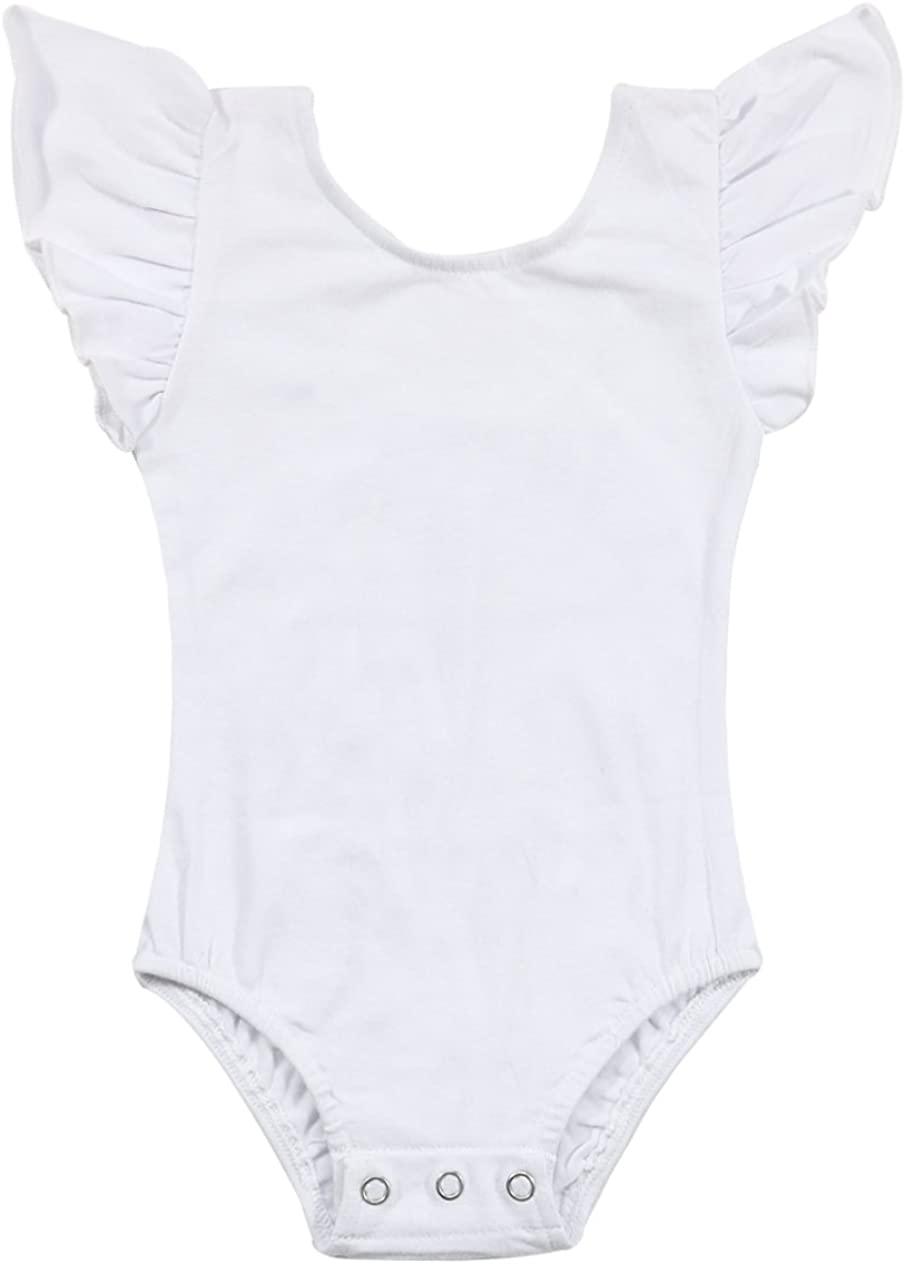 LOTUCY Newborn Baby Girls Solid Color Ruffle Sleeve Romper Bodysuit Jumpsuit