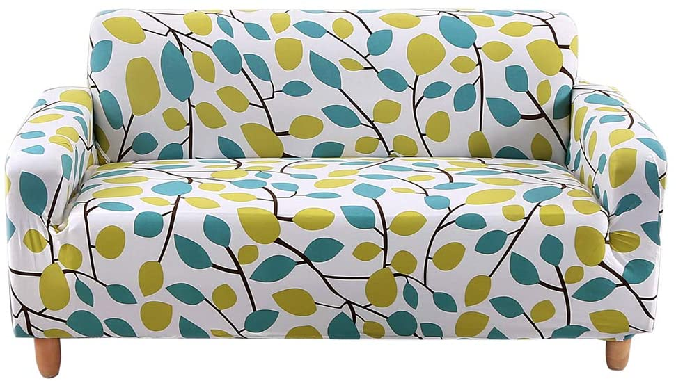 HOTNIU 1 Piece Printed Stretch Sofa Cover Elastic Polyester Spandex Couch Covers, Universal Fitted Sofa Slipcover for Sofa Furniture Protector (1 Seat, White Green Leaves)
