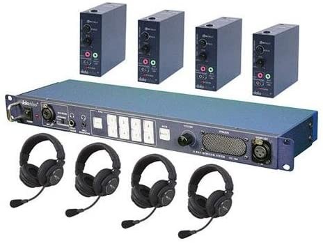 Datavideo ITC-100 Intercom Base Station, Includes 20m (65') Cables, Belt Packs, Tally Lights for 4 Users and 4 x HP-2A Headsets