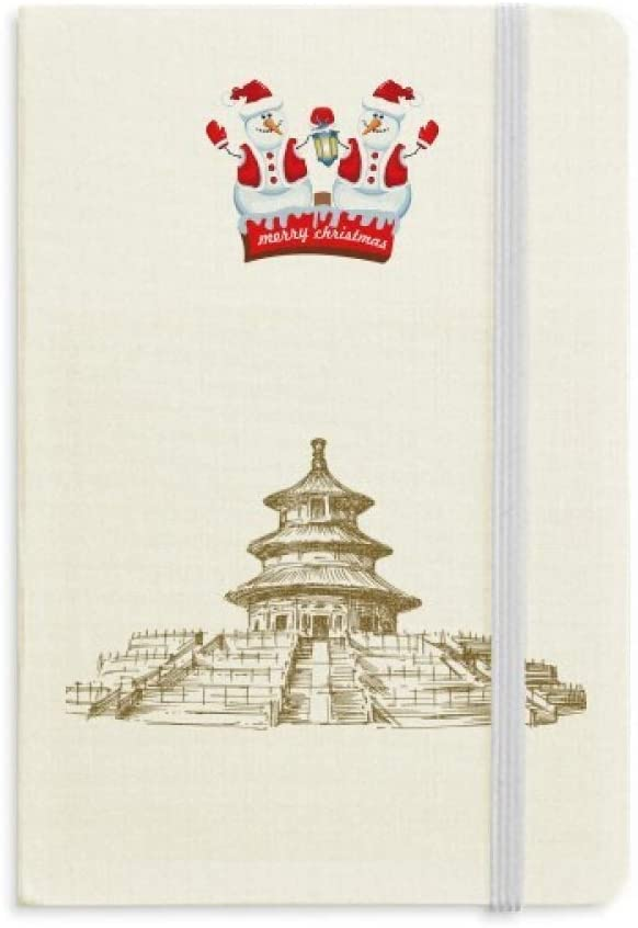 China Temple of Heaven Landmark Sketch Christmas Snowman Notebook Thick Hardcover
