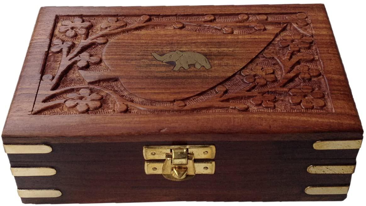 Decorative Hand Crafted Brass Engraved Rectangular Rosewood Storage Box