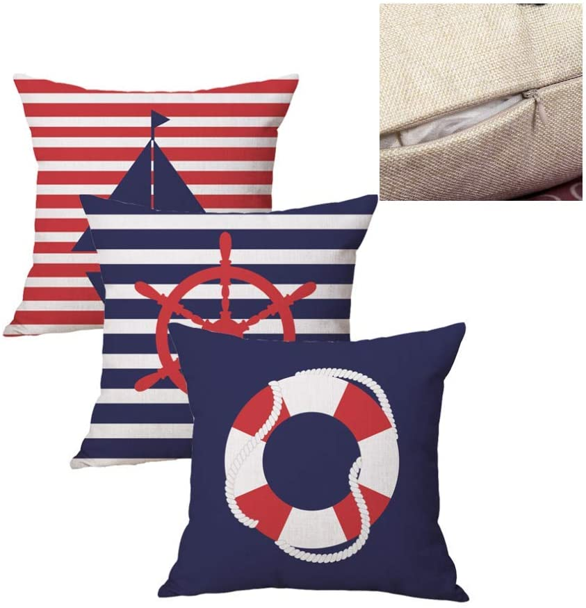 Nautical Decorative Throw Pillow Covers Fall Cushion Covers Cotton Line Navy Blue Red Pillowcases for Sofa Farm House Thanksgiving Chiristams Home décor Pillow Cover 18 x 18 inch