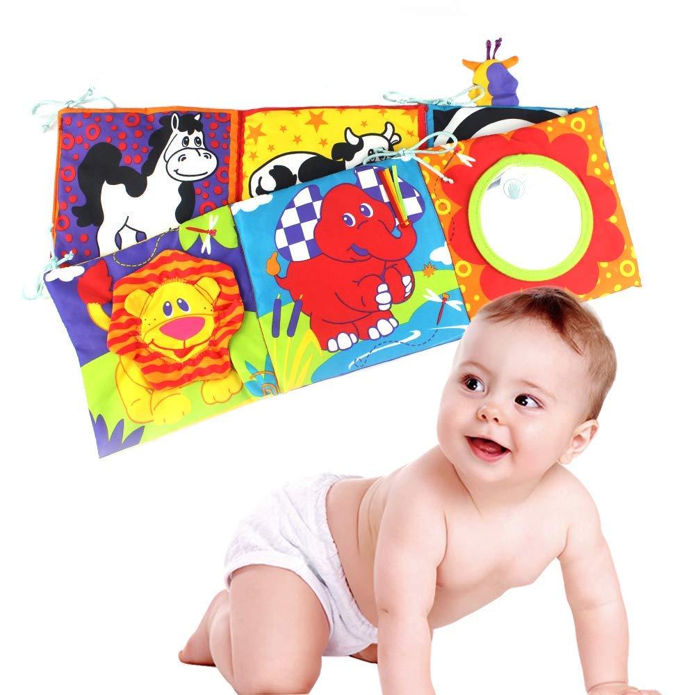 Hosim Baby Crib Cloth Book Animal Puzzle Toys Elephant/Lion/Giraffe/Monkey, Perfect for Kids Infants Education Development - Newborn Rattle Crib Bed Gallery Bumper Pad 6Pcs