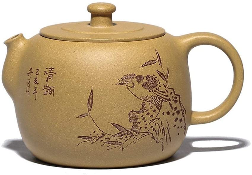 MADONG Yellow teapot ore segment teapot power to send hand-carving jade teapot kettle drum (Color : Yellow)