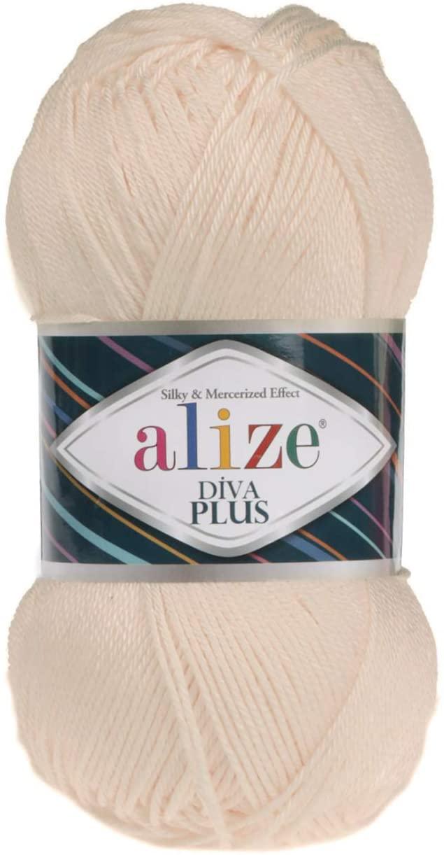 100% Microfiber Acrylic Alize Diva Plus Silk and Mercerized Effect Knitting 3 DK & Light Worsted Crochet Yarn Lot of 4 Ball skeins 400gr 962 yds Color (160 - Honey)