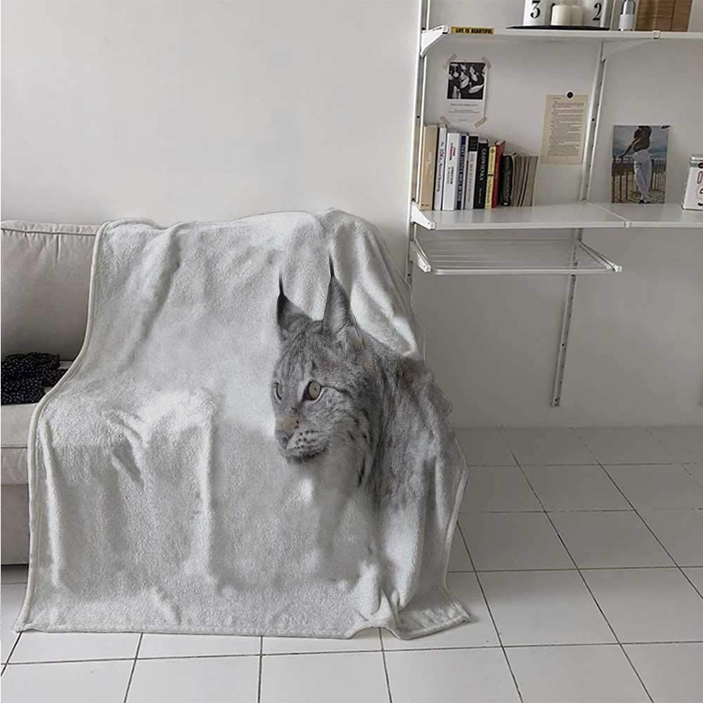 Lightweight Blanket Lynx in The Central Norway Wild Cat North Cold Snowy Mountain Carnivore Predator Soft Breathable Blanket for Kid Baby Toddler Teenager Grey White 30 x 50 Inch