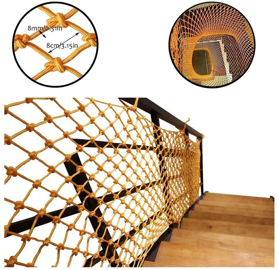 PLLP Safety Nets,Mesh Child Safety Net Balcony Protection Net for Kids Fence Stair Kid Pet Cat Goods Decor Netting Hand-Weaving Net Rope Yellow Indoor Multi-Size,4x5m