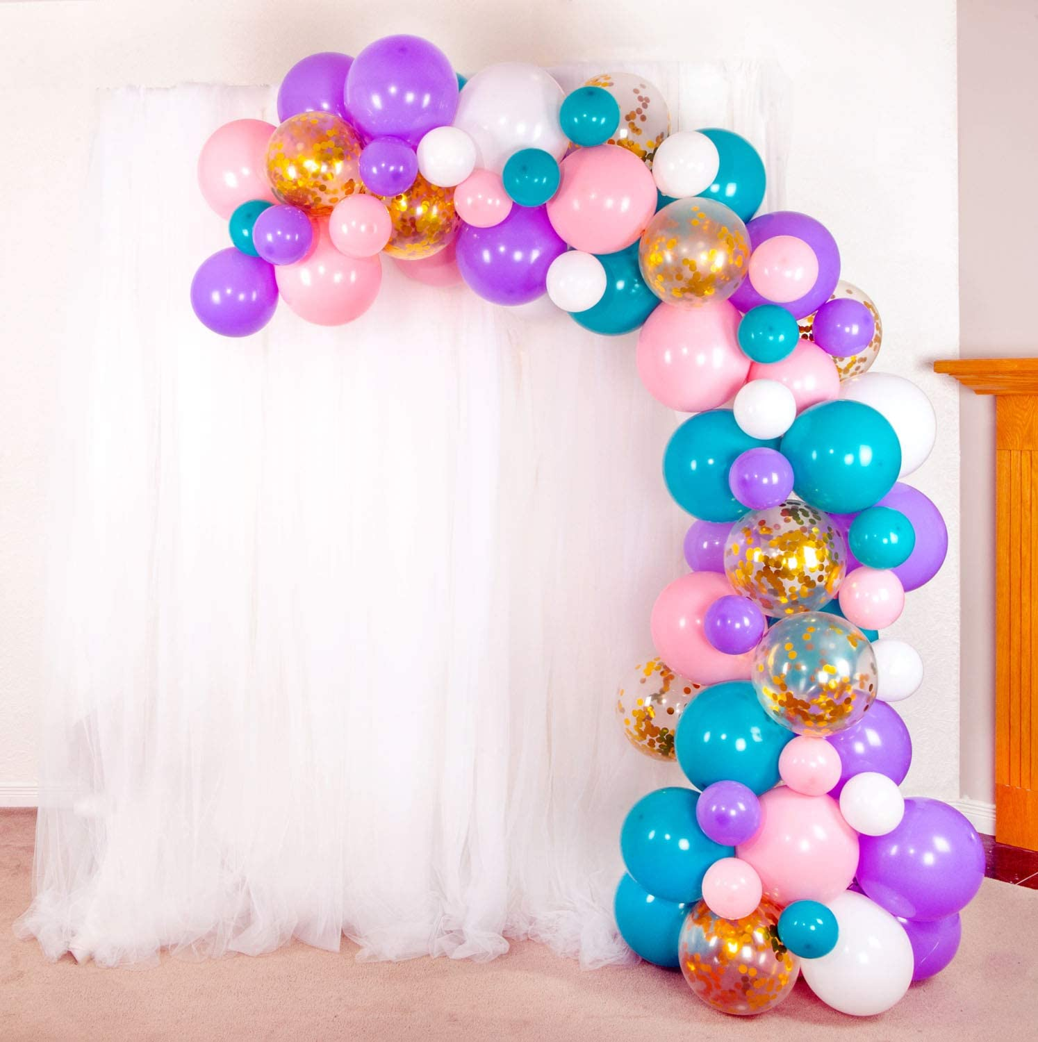 Shimmer and Confetti Premium 74 Pack Mermaid Unicorn Balloon Arch and Garland Kit with 74 Matte Pink, Purple, White, Aqua Balloons, 10 Gold Confetti Balloons, Tape, Fishing Line, Glue Dots