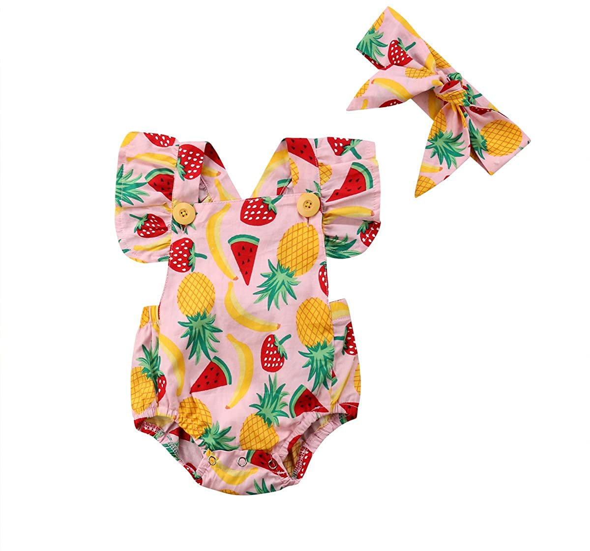 KIDSA Infant Toddler Baby Girl Summer Fruits Romper Outfits Backless Ruffles Bodysuit Jumpsuit Clothes with Headband