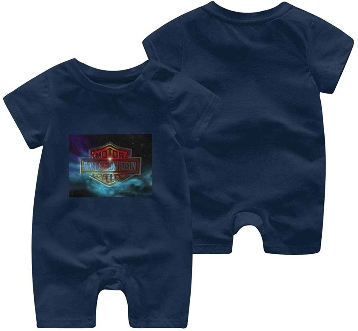 Harley Davidson One Piece Outfits Baby Solid Color Rompers with Button Kids Short Sleeve Playsuit Jumpsuits Cotton Clothing 2t Navy
