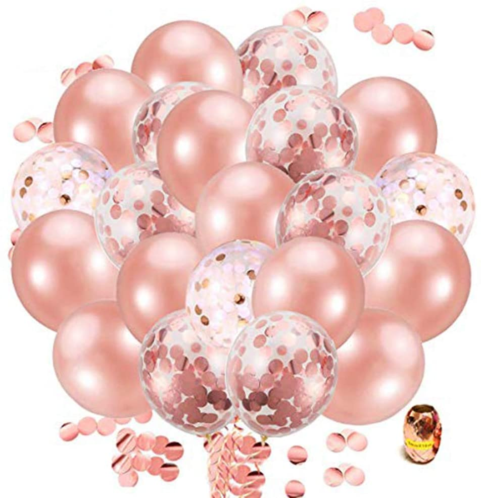 Rose Gold Confetti Balloons100 Pack, 12 Inch Latex Balloons with Rose Gold Paper Confetti Dots for Party Decorations, Wedding Decorations, Birthday Party, Bridal Shower, Baby Shower (Rose Gold 03)