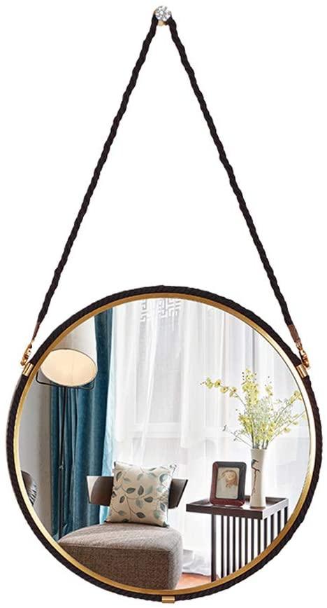 Makeup Mirror, Stainless Steel Plated Brushed Hemp Hanging Mirror Hotel Bathroom HD Cosmetic Decorative Mirror Makeup Mirror