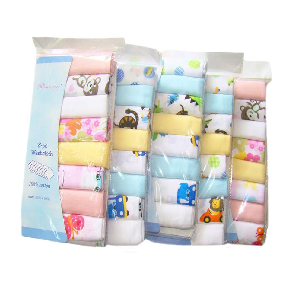 CuteOn Cotton Soft Baby Washcloths Baby Towels, Pack of 8, 11.8