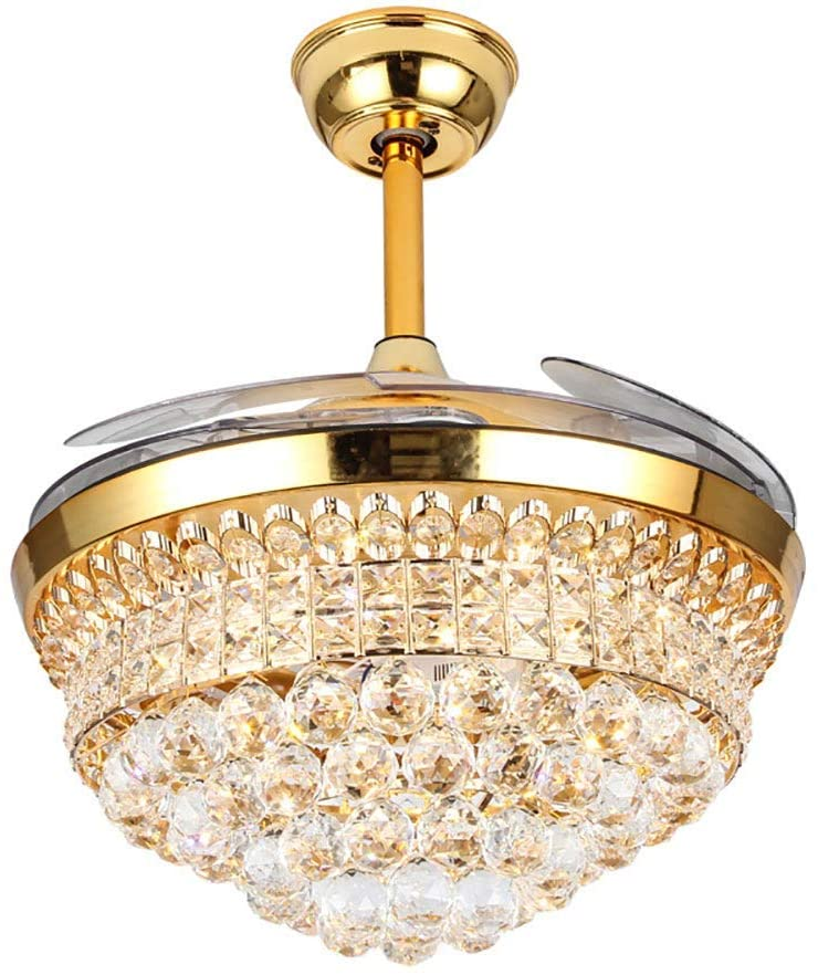 Lighting Groups Crystal Invisible Ceiling Fan Light 42 Retractable Blades Ceiling Fan Lamp Remote Control Ceiling Fan Chandelier With LED Three Changed Color Lights -for Bedroom (42 Inch, Gold)