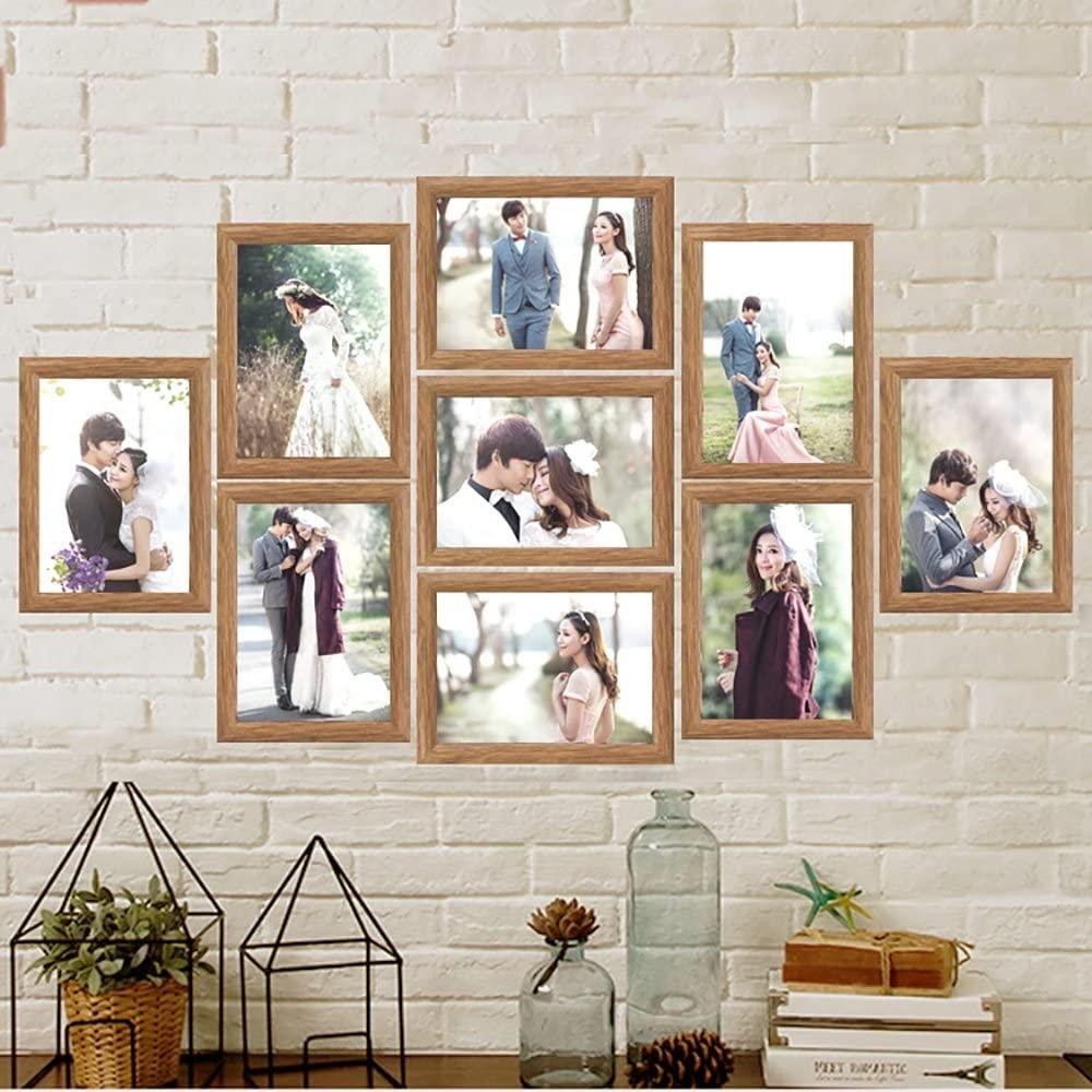Combination photo wall creative Jiugongge photo wall wedding photo studio family portrait 7 inch photo frame wall ( Color : Walnut color )