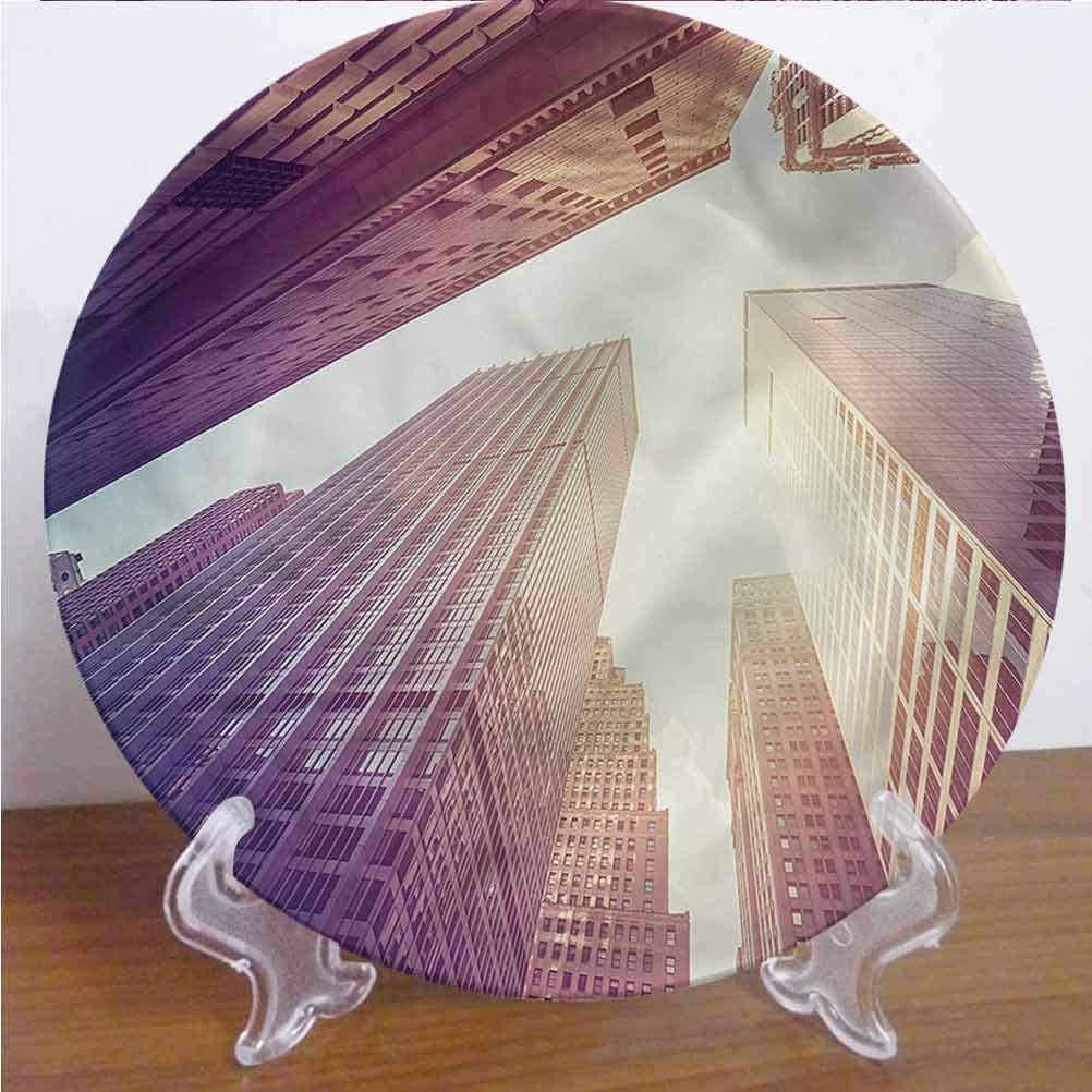 Channing Southey 6 Inch City 3D Printed Decorative Plate Skyscrapers in Manhattan Tableware Plate Decor Accessory for Pasta, Salad,Party Kitchen Home Decor