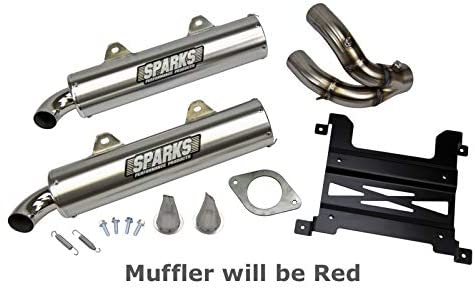 Sparks Racing X-6 Stainless Steel Slip On Red compatible with Polaris Rzr Xp 1000