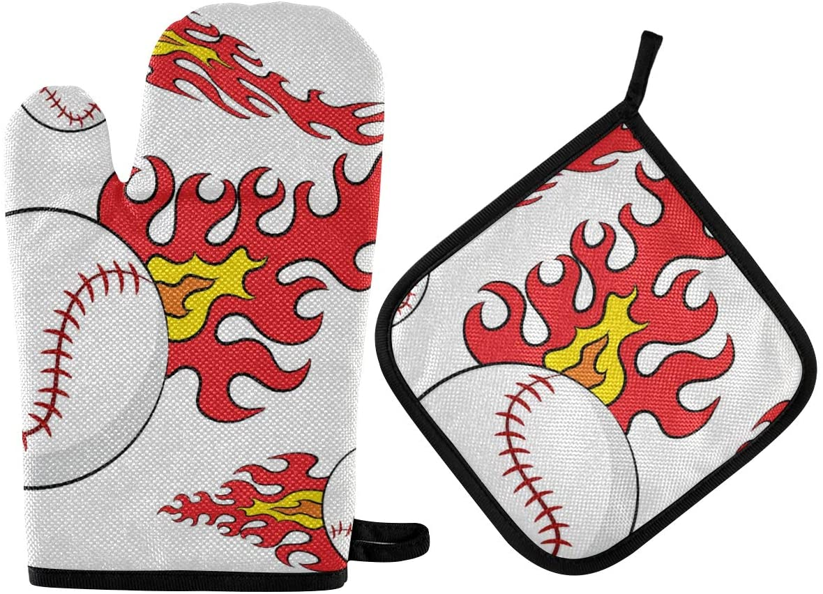 Oven Mitts,Heat Resistant Non-Slip Gloves,Professional Heat Resistant Thickening Cotton Gloves, Baseballs with Flames Suitable for Kitchen, Outdoor BBQ Cooking Baking,Grilling Microwave Gloves