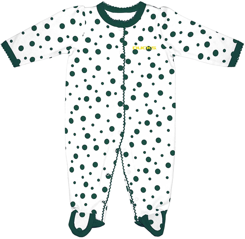 Two Feet Ahead NCAA Oregon Ducks Infant Polka Dot Footed Creeper Dress, Preemie, Green