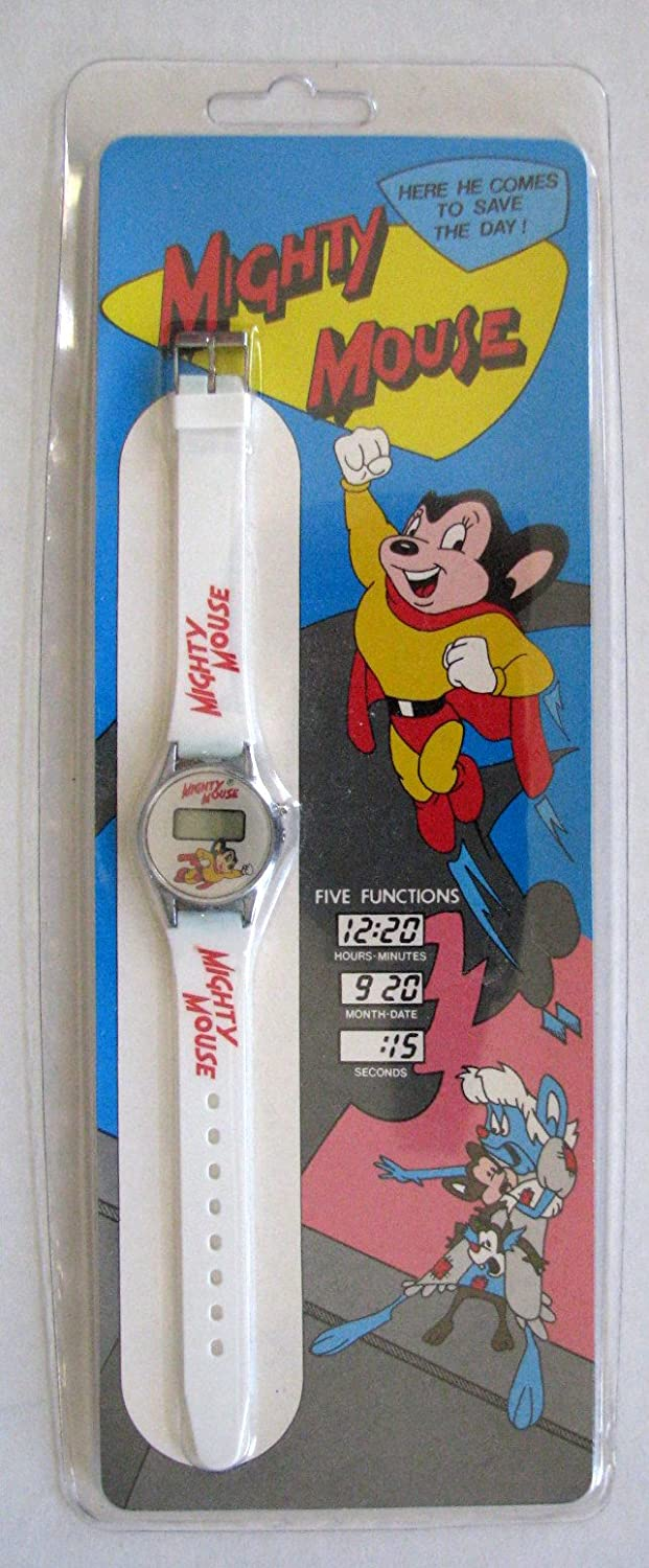 Vintage Mighty Mouse LCD Quartz Watch - White Band