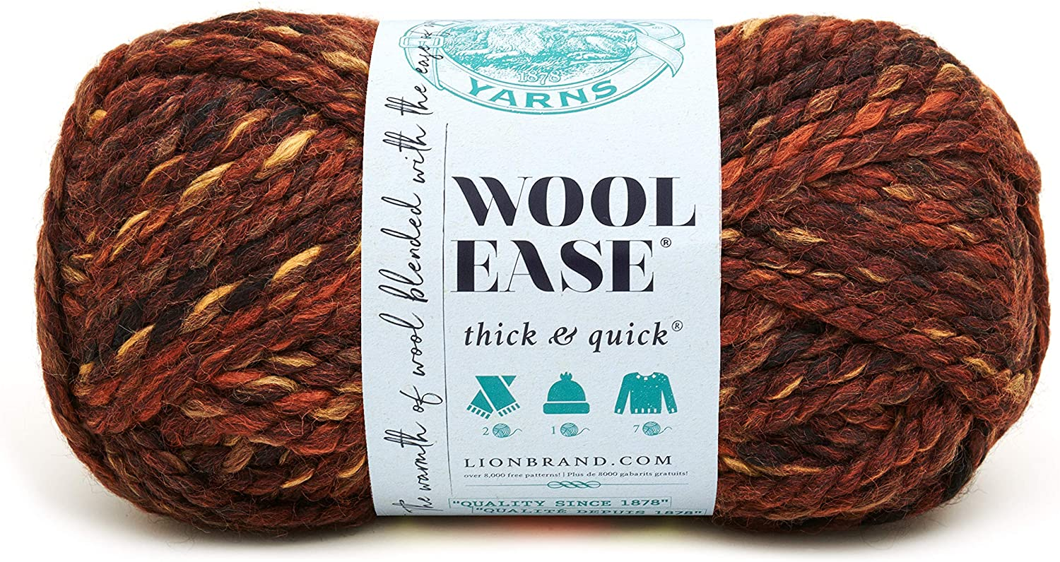 Lion  640-501A Wool-Ease Thick & Quick Yarn , 97 Meters, Sequoia