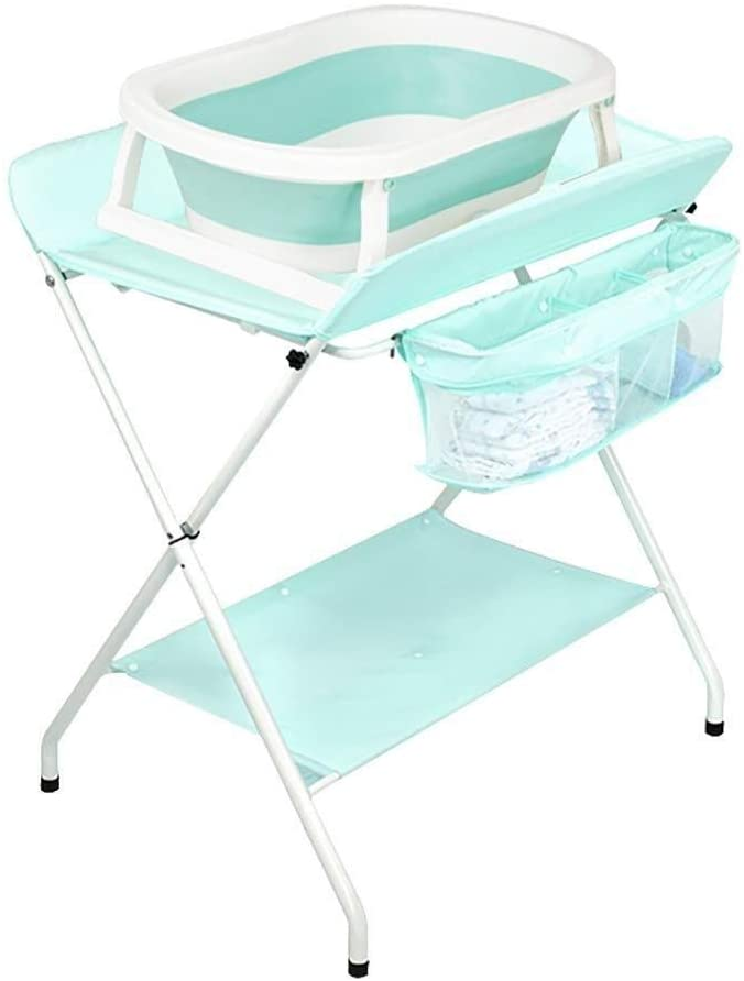 JN Baby Changing Table Baby Changing Table Green Folding Children Infant Diaper Station Nursery Organizer for Small Space Baby Crib