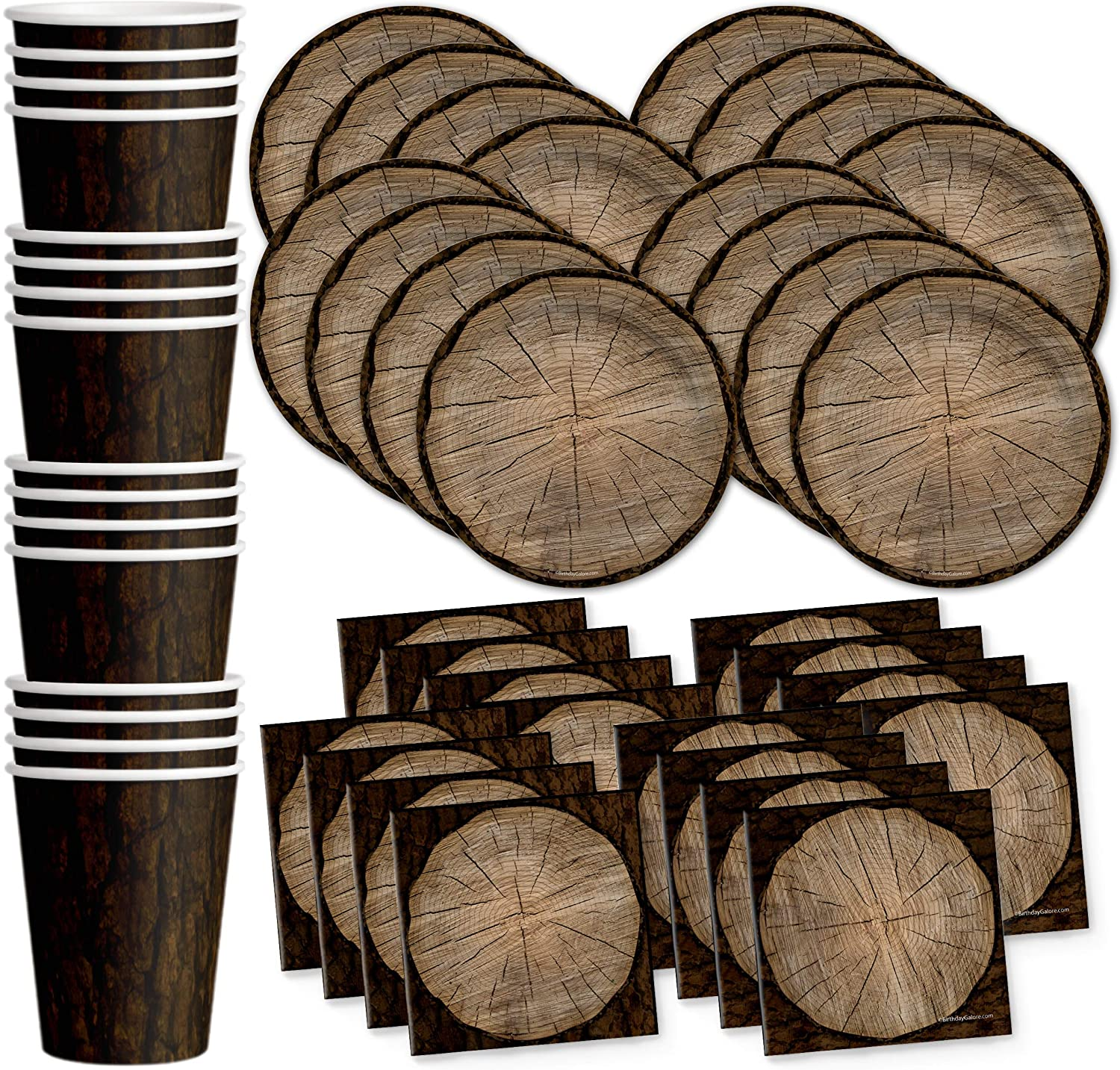 Tree Lumberjack Outdoors Birthday Party Supplies Set Plates Napkins Cups Tableware Kit for 16
