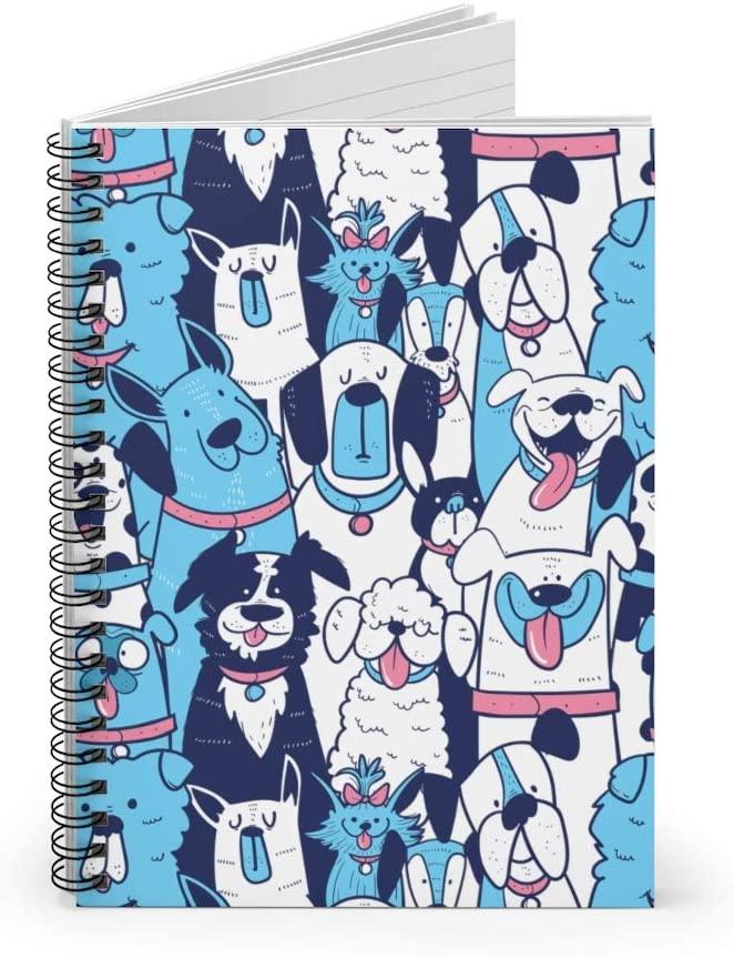 Seamless Dog Pattern Spiral Notebook Retriever Terrier Husky Bulldog Ruled Notebook Diary Journal Dog Mom Dog Lady Lined Notebook Gift
