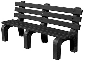 Kirby Built Products 6' Standard Park Bench - Recycled Plastic - Black - Black Frame