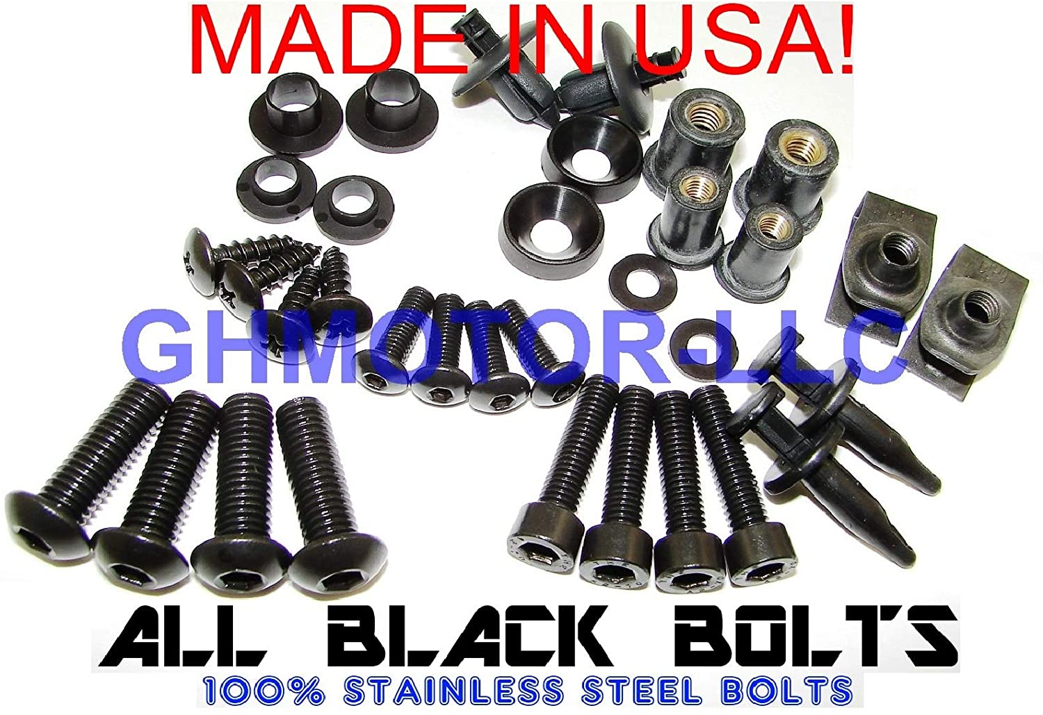 GHMotor Complete Fairings Bolts Screws Fasteners Kit Set Made in USA for 2002 2003 KAWASAKI ZX9R ZX-9R - Black