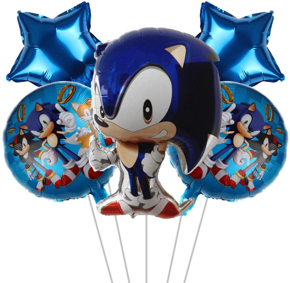 5 pcs Party Balloons for Sonic the Hedgehog, Sonic the Hedgehog Party Supplies, Kids Baby Shower Birthday Party Decorations