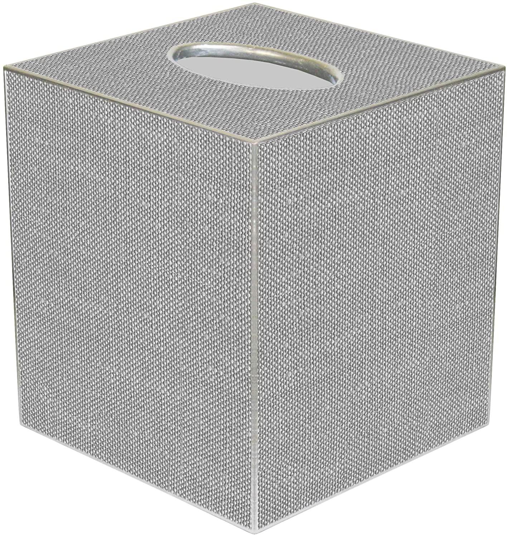 Kelly Tissue Box Cover Tissue Holder Square Cube Decorative Grey Bathroom Decor Bathroom Accessories Linen Look Paper Mache
