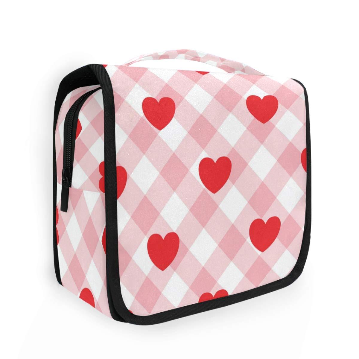 CaTaKu Happy Valentine Cosmetic Toiletry Bag, Love Tartan Cosmetic Bag Toiletry Bag Multifunction Bag Cosmetic Portable Makeup Waterproof Travel Hanging Organizer Bag for Men & Women