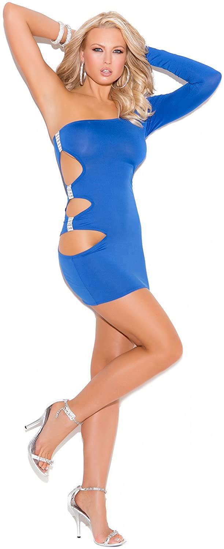 Elegant Moments Women's One Shoulder Mini Dress with Side Cutouts