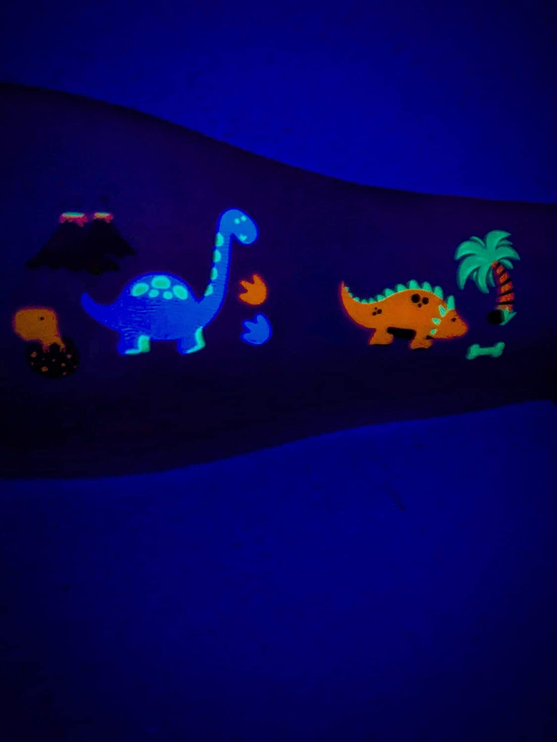 38 Individual Temporary Dinosaur UV Blacklight Tattoos for All Ages