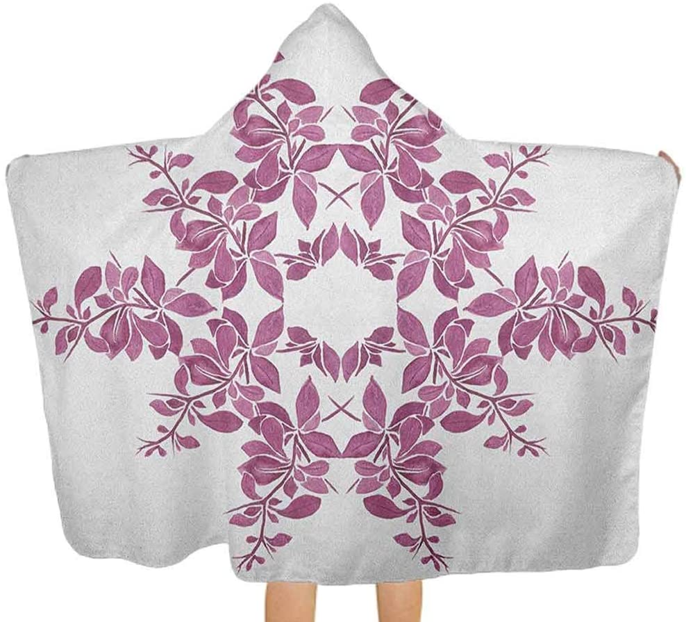 ThinkingPower Premium Hooded Towel Autumn Vine Bridal Flower Bouquet Vintage Style Circle of Leaves Laurel Wreath Hooded Baby Towel Washcloth for Baby, Toddlers, or Kids Violet White 51.5x31.8 Inch