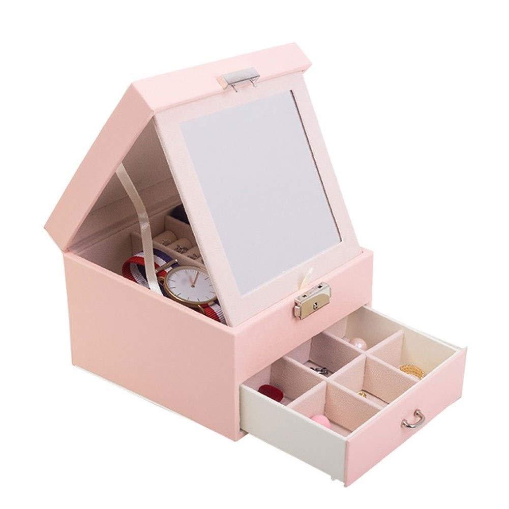 CHENGXI Jewelry Box PU Leather Double Layer Jewellery Storage Box Hand Jewelry Large Capacity Storage Box Jewelry Box For Women (Color : Pink)