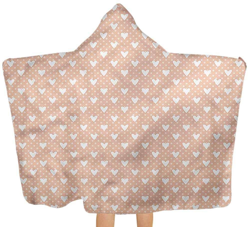 Carmaxs Valentine Hooded Poncho Hearts Pastel Polka Dots Hooded Towels for Boy Girl 32 x 50 Inch Perfect Shower Gifts for Child