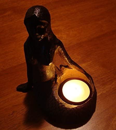 Rustic Cast Iron Nautical Beach Mermaid Tea Light Candle Holder Home Decor