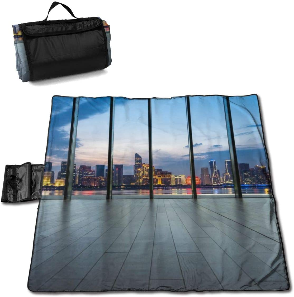 DPBEST Interior of Office Building with City Skyline Picnic Blanket with Handcarry Waterproof Foldable Picnic Mat for Camping Beach Park Lawn