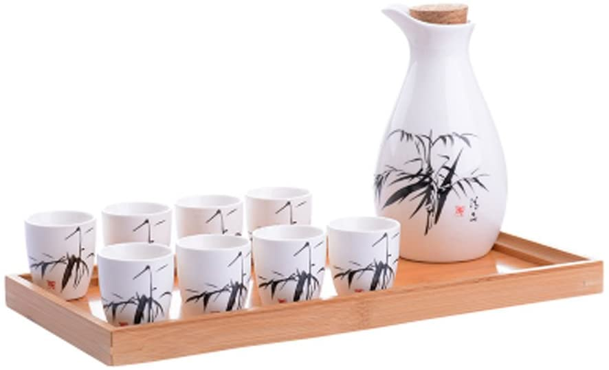 DRAGON SONIC A Set of 9 Practical Beautiful Sake Jugs and Wine Glasses Set,B3