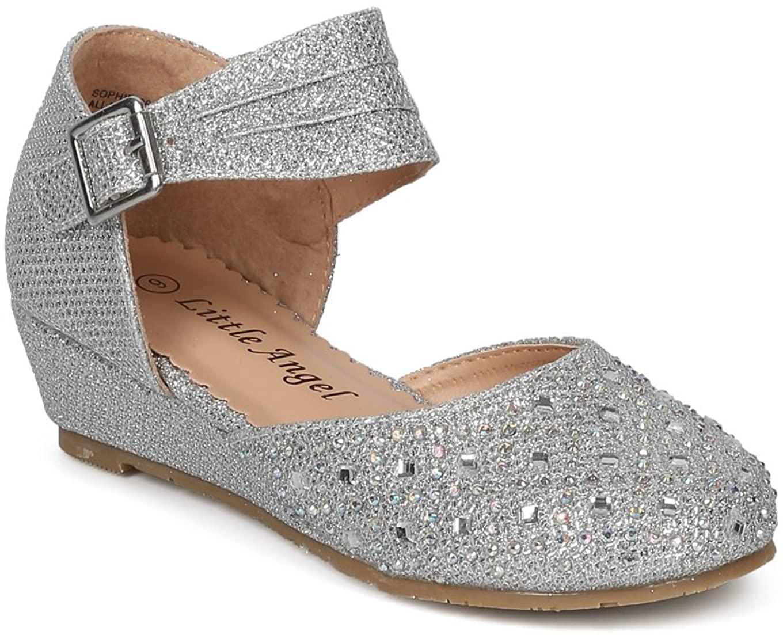 Alrisco Girls Glitter Rhinestone Pleated Ankle Strap Low Wedge Dorsay HF99