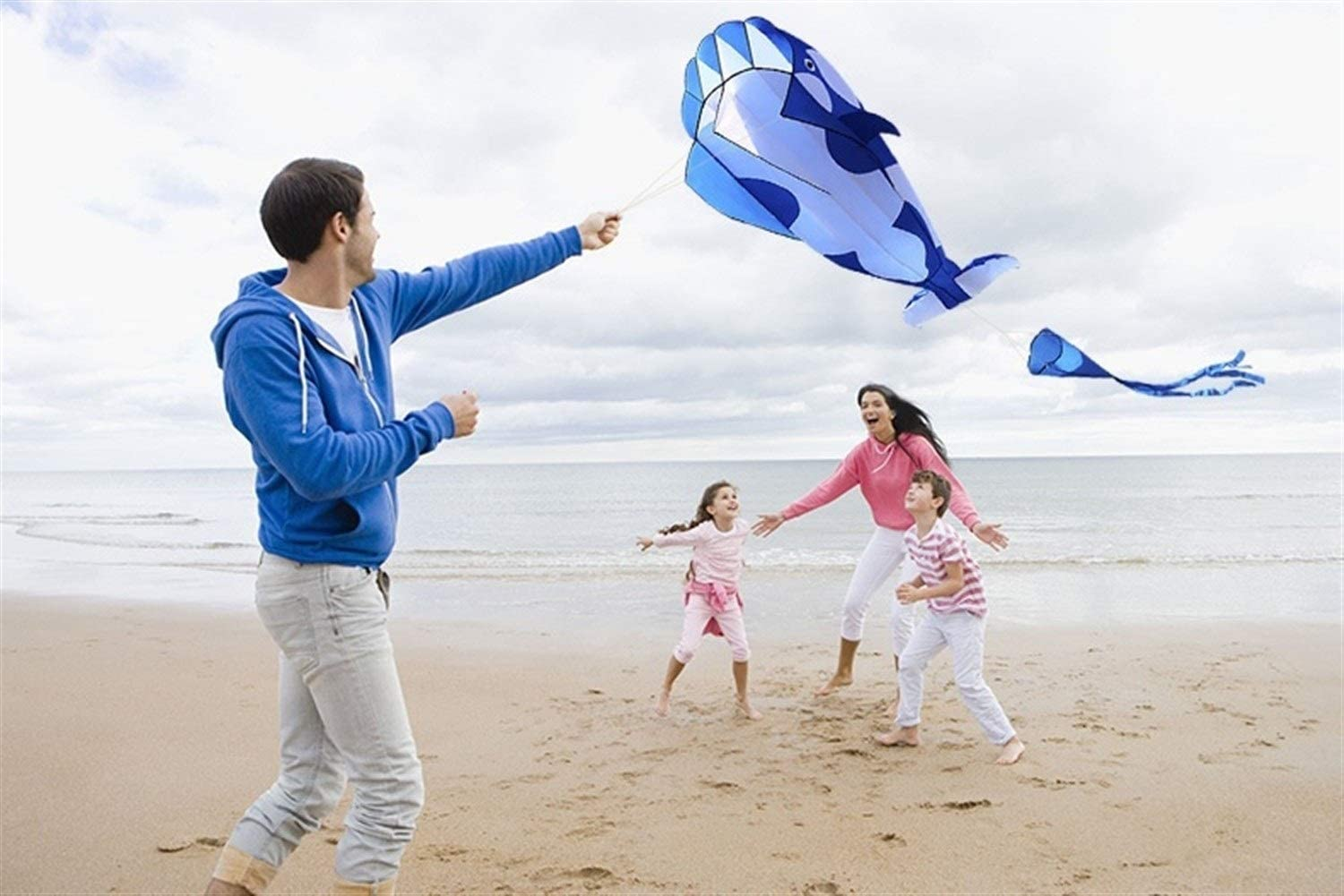 ARONG Interesting Kite, Kids Kite Fun Kites for Kids Easy to Fly with Outdoor Sports Software Whale Kite Suitable for Beach or Park (Color : Blue Color)