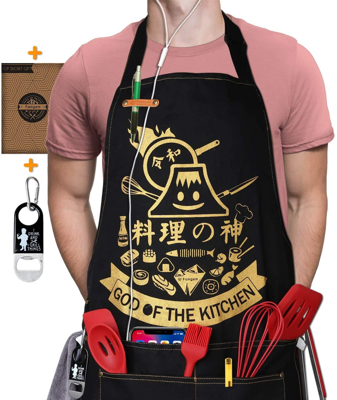 Famgem Kitchen Aprons Japanese for Womens - Professional Mens Grill Sushi Japan Chef Apron with 5 Pockets 1Pen Holder / 2 Towel Loop / 100% Cotton